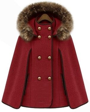 Red Detachable Fur Lined Hood Contrast Trims Cape. Red Riding Hood, yes? :)