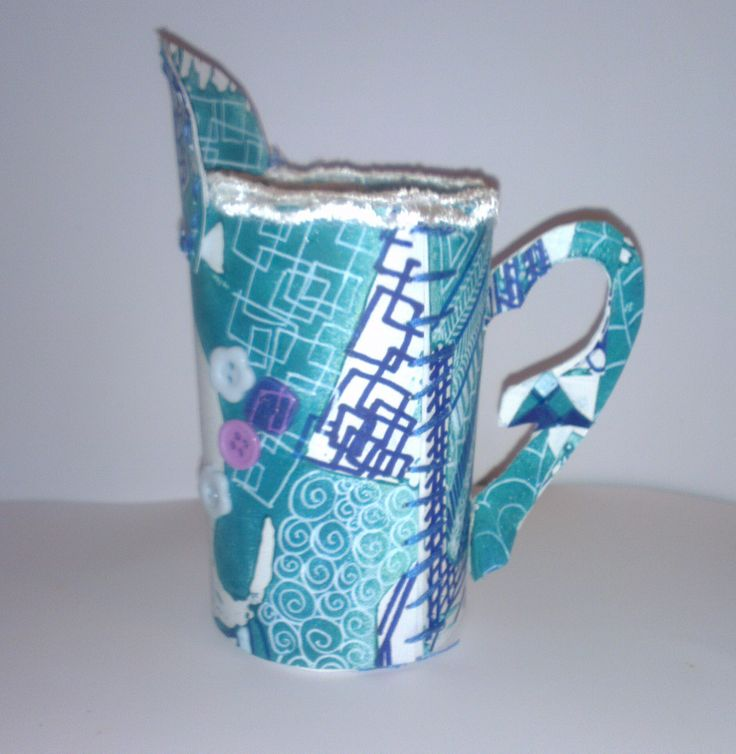 Milk jug. Lino print design with lace. Original work. Please respect my artwork. If you use this image or pattern give the credit it deserve.