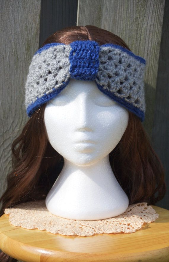 Super cozy blue and grey crochet headband. The most stylish gift for woman is available here:: httpsw.etsy.com/ca/listing/468225128/sale-crochet-headband-grey-and-blue-ear