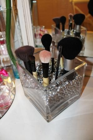 DIY- Use painted beans in a vase to hold makeup brushes!!