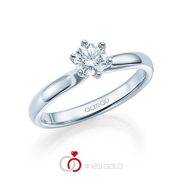 Verlobungsring Diamantring 6 Krappen, Zungschiene, Breite: 2,40, Höhe: 1,30- Legierung: Weißgold 585/- - Steinbesatz: 1 Brillant 0,4 ct. tw, vs