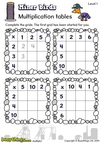 Miner Birds Multiplication Tables - Review your children's knowledge of their multiplication tables with this fantastic resource from BusyThings!