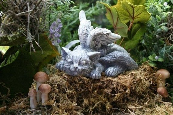 Angel Cat Statue Sweet Serenity Cat Memorial by PhenomeGNOME, $24.99