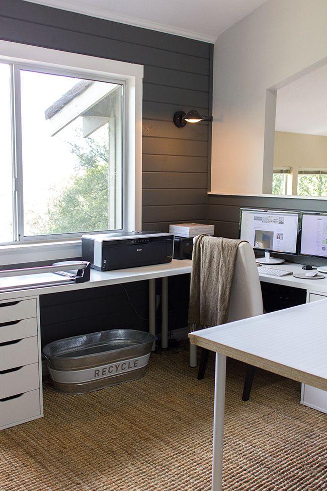 Ikea linnmon desk in an l shape corner desk using alex for Bureau en pin ikea