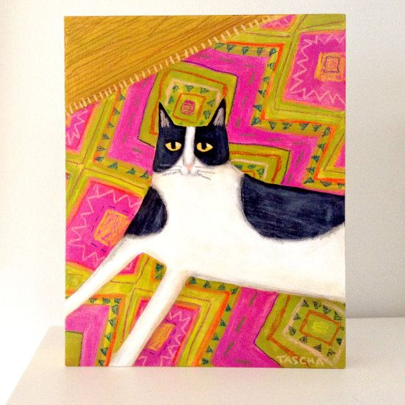 Tuxedo Cat on pink and green Aztec rug CAT folk art painting ORIGINAL acrylic painting by artist TASCHA