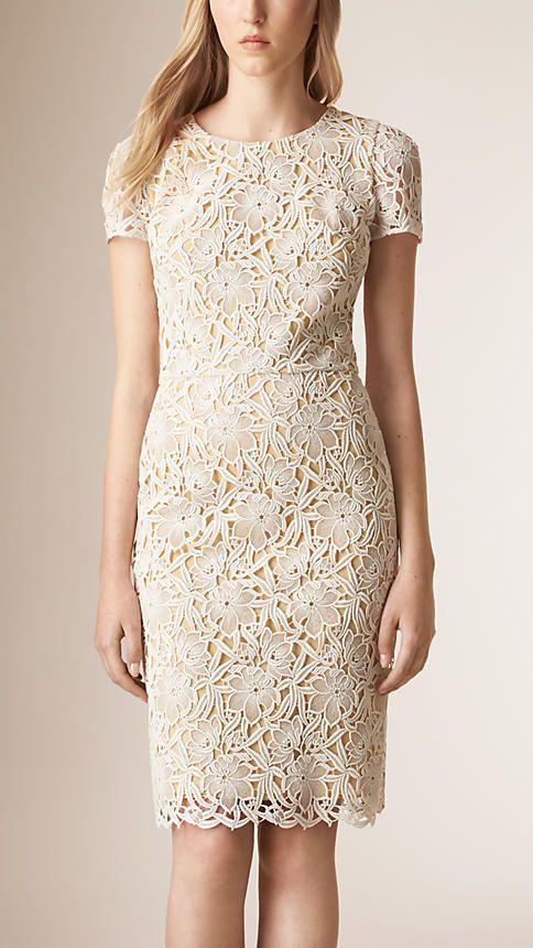Branco Vestido de renda floral - Imagem 1