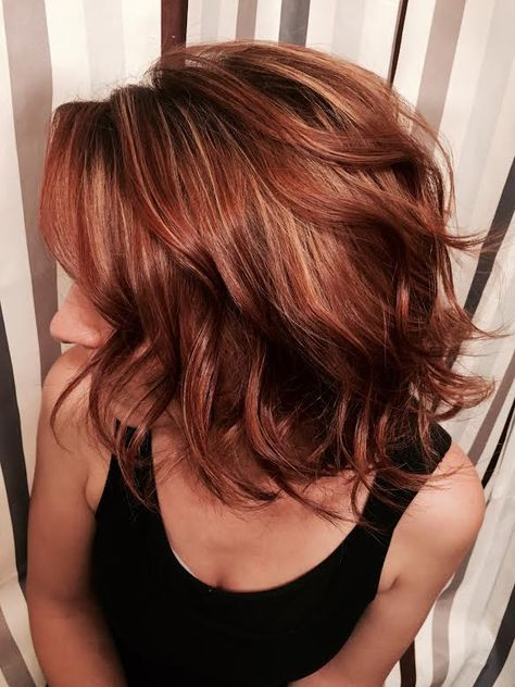 TRANSFORMATION: Blah To Red LOB | Red hair with highlights, Hair styles, Hair color auburn