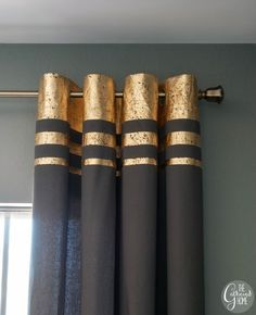 """DIY- gold leaf embellished curtains:Try the tutorial for DIY gold leaf embellished curtains from Brynne at 'The Gathered Home'. Easy and detailed tutorial with lot's of photos makes it simple! I would love to see this done on a coral or pink curtain for a """"rose gold"""" look… How amazing is this? And so less expensive then buying them!"""