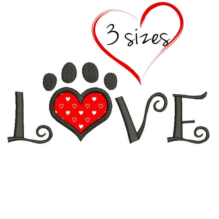 Embroidery design Love Paw Valentine's day applique designs hearts instant digital download pattern in the hoop pes file towel by SvgEmbroideryDesign on Etsy