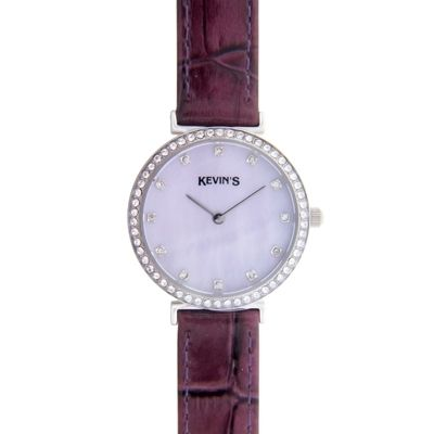Reloj para Dama, tablero redondo, madreperla, puntos, analogo, pulso cuero morado