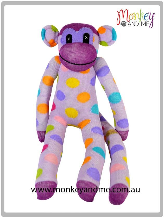 Purple and pale purple with spots sock monkey