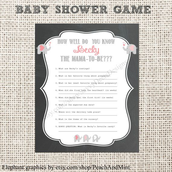 Chalkboard Baby Shower Game Printable by SavvyDeetsDesigns pregnancy babyshower