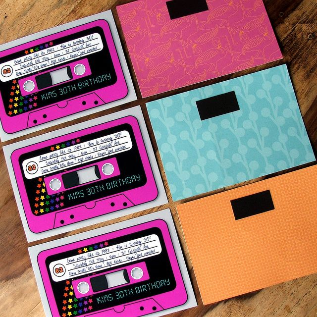 My 30th Birthday invitations for my 80's party, retro cassette tapes