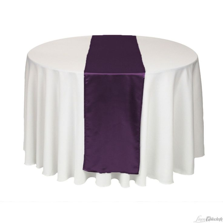 Buy 14 x 108 inch eggplant satin table runner for your wedding at LinenTablecloth! Add satin table runners as finishing touches to your wedding tablecloths or event table linens.