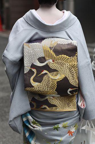 Obi. Beautiful detail. Over a clean minimalist kimono.