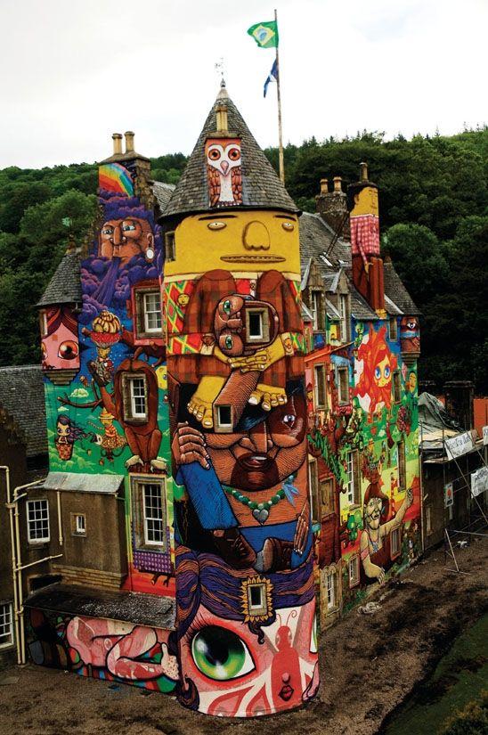 Castelo de Glasgow, by Nina Pandolfo, Gêmeos e grafiteiro Nunca