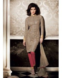 Dull Gold Net Straight Cut Style Suit