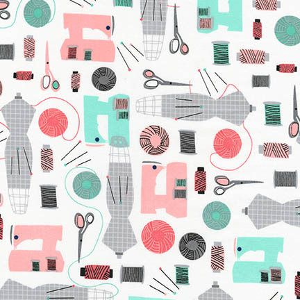 Sew Dressed Up by Niamh Fitzsimons Sewing Fabric Robert Kaufman Seafoam Fabric Modern Fabric Modern Sewing Machine Fabric Quilting Cotton by Owlanddrum on Etsy
