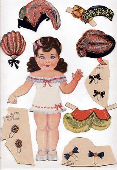 Vintage Lowe 1242 Cinderella Steps Out Paper Dolls 1948