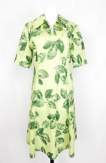 Green Leaves Vintage Dress, Short Sleeve