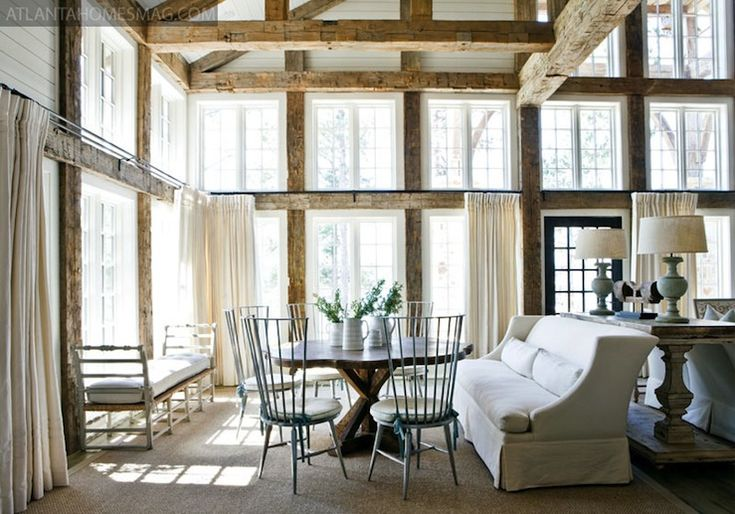 💚I think I'm in love!: Dining Rooms, Living Rooms, Dreams Houses, Expo Beams, Window, Interiors, Lakes Houses, Atlanta Home, Wood Beams