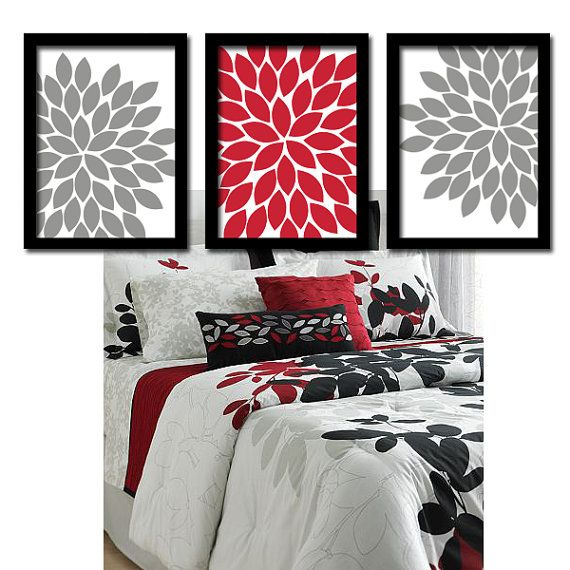 Artworks grey and wall art bedroom on pinterest for Bathroom designs red and black