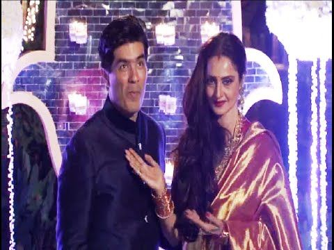 Rekha at Manish Malhotra's niece Riddhi Malhotra's wedding reception.