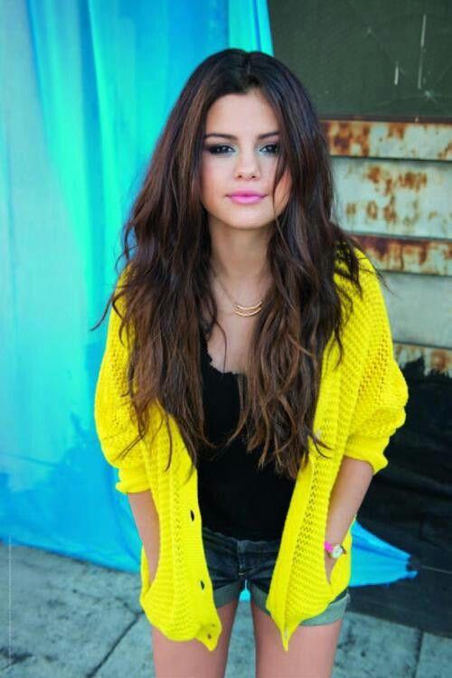 Selena Gomez Yellow Cardigan December 2017