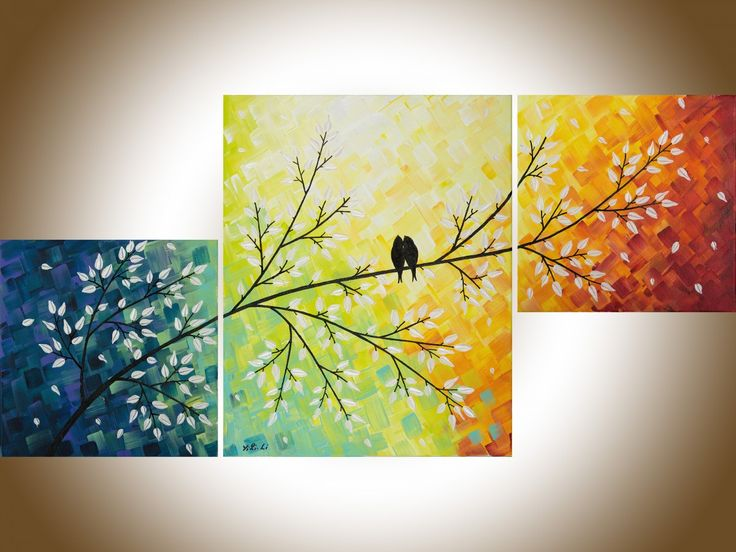 Art Painting Contemporary Wall Art Love Birds Art Set Of 3 Painting Red  Yellow Orange Green Blue Canvas Painting By QIQIGALLERY