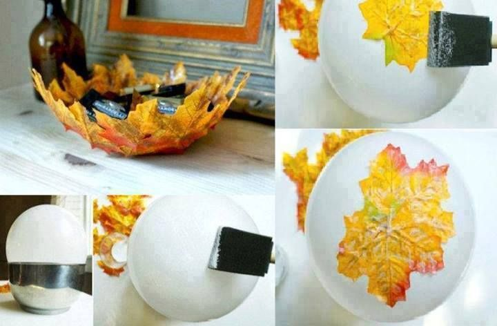 Maple leaf mod-podge bowl! Can be made with real or fake leaves! If using real leaves make sure they are a little damp and pliable