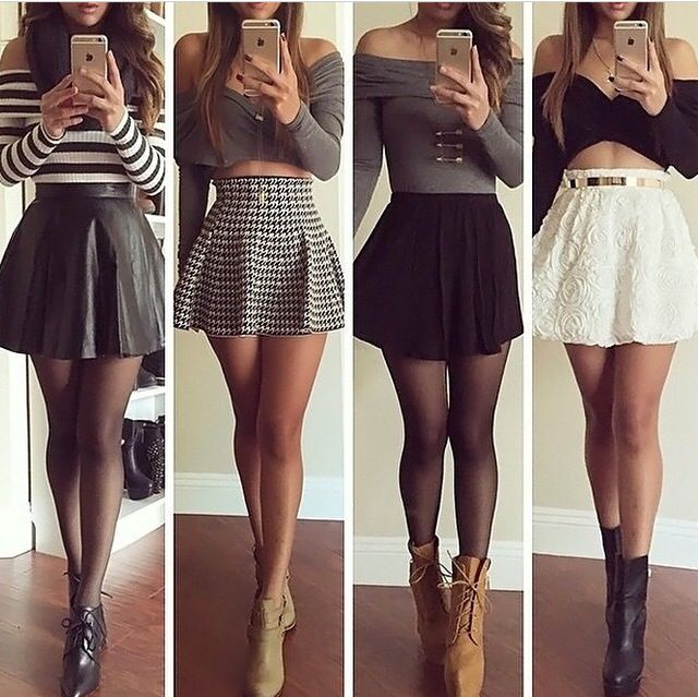 the skirts are a bit short for me, and i personally wouldn't want my belly showing, but i LOVE some of these outfits