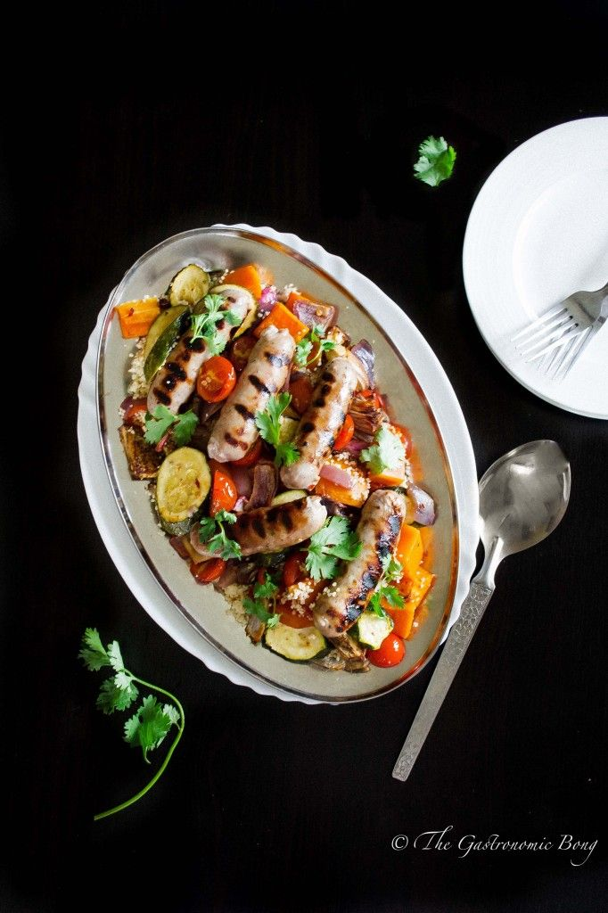 Roasted Summer Vegetables and Honey-Glazed Sausages with Couscous | The Gastronomic BONG