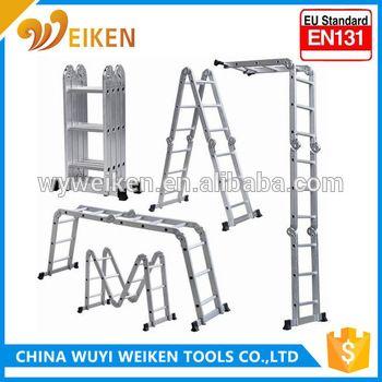 wuyi 3.7m 4*3 step aluminum multi-purpose ladder with en 131
