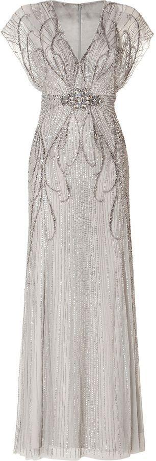 Jenny Packham Sequin Embellished Gown in Platinum on http://shopstyle.com