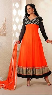 Shweta Tiwari Georgette Long Anarkali Suit Surround yourself with endless compliments as Shweta Tiwari with this bright orange faux georgette long Anarkali suit. The extravagant contrast embroidered decorative patterned yoke patch and bold hemline makes it an absolute flattering piece.  #BuyAnarkaliSuitsPrice #LongAnarkaliSuit