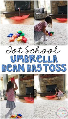 This umbrella toss gross motor game was great for our weather theme. Perfect for tot school, preschool, or the kindergarten classroom.