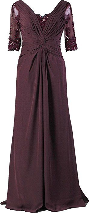 5b2a1e090fc ANTS Women s Sexy Bridal Mother Dresses Long Evening Gown With Sleeves Size  16 US Gray at Amazon Women s Clothing store