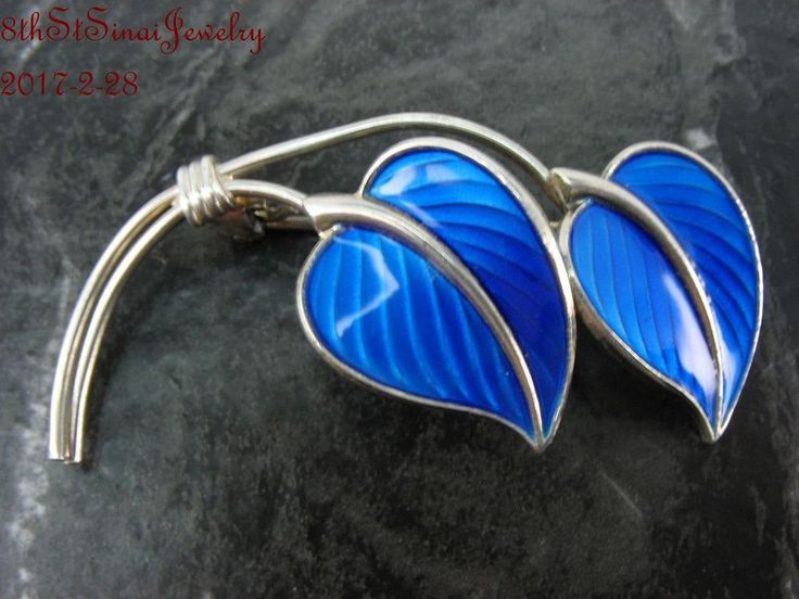 Estate Norway Sterling Silver 925S Royal Blue Enamel Double Leaf Pin Brooch #Unbranded