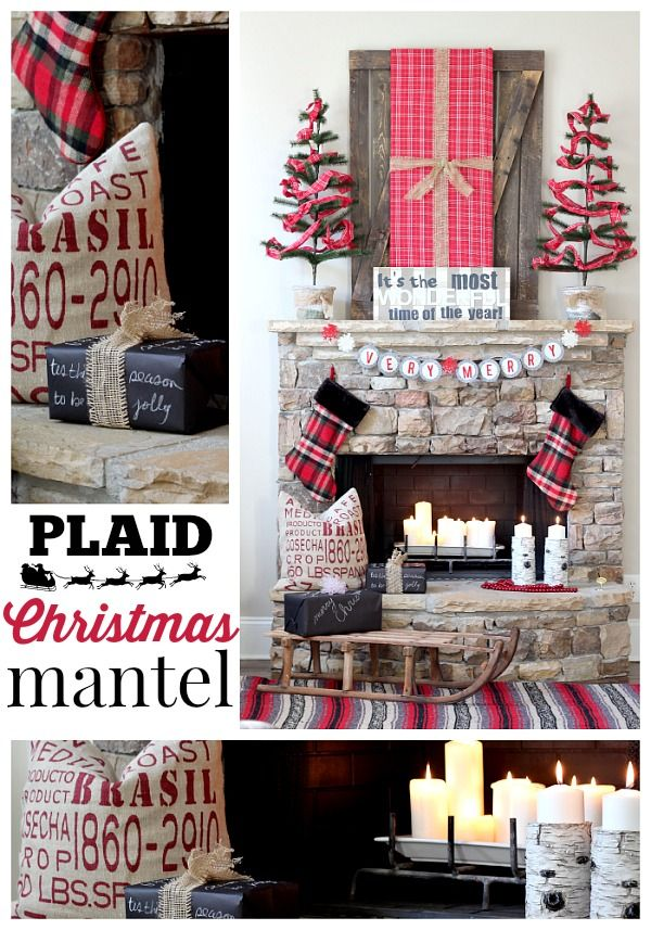 Plaid Christmas Mantel Idea - Red Plaid, Stone Fireplace, Antique Sleigh: