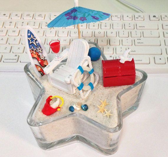 Election Party Miniature Beach / Tabletop Centerpiece / Zen Garden Terrarium / Tropical Patriotic Fairy Garden / 4th of July Americana Decor