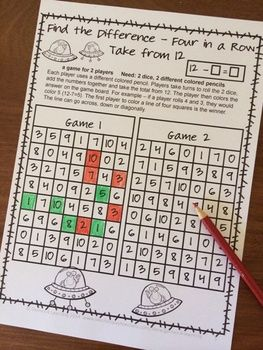 FREEBIE- Subtraction NO PREP Games by Games 4 Learning Find the Difference - Four in a Row - Take from 12. 2 players roll the dice, take the total from 12 and color this number. The first to have 4 in a row is the winner!