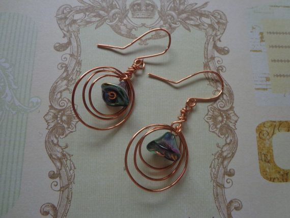 Handmade Copper Earrings with Glass Tulip Beads by PipersEmporium, $12.00