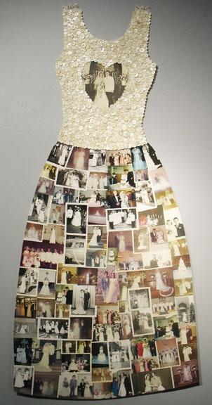 "Francine Seders Gallery: Mar Goman 77-348 Wedding Dress  Mar Goman mixes media, found photos, buttons, sewing, 2012  size:  29 x 60"" 77-348"