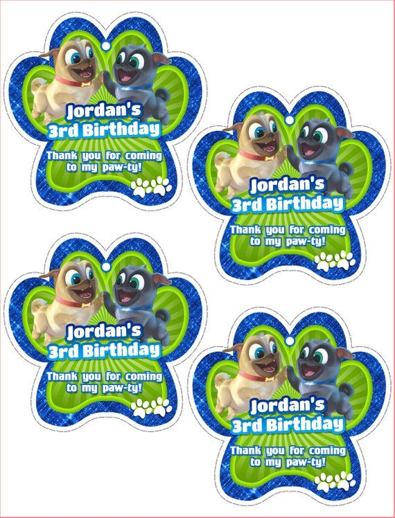 12 Disney Jr Puppy Dog Pals Party Favor Label Not Sticker Bag Snack Treat