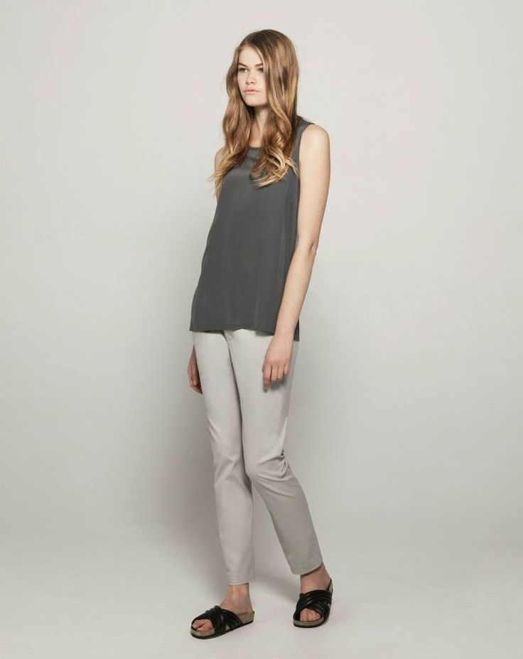 Silk Front Cotton Modal Tank (Charcoal) Stretch Twill Tailored Chinos (Parchment)