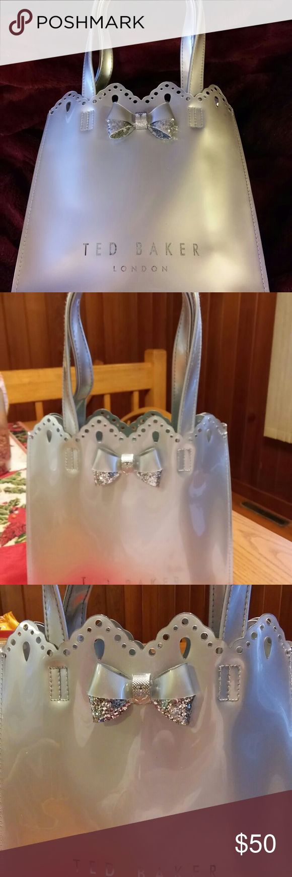 NWOT PVC Tote by Ted Baker 1HR SALE Great silver scalloped shopping tote with inside zippered pouch Ted Baker London Bags Totes