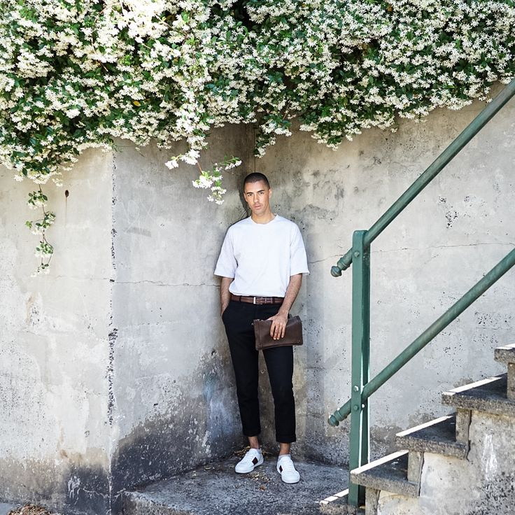Mens Fashion Style & Outfit inspo by Blogger MR TURNER. COS tshirt and black pants with a Gucci Ace sneaker and Jerome Dreyfuss bag for Spring Summer