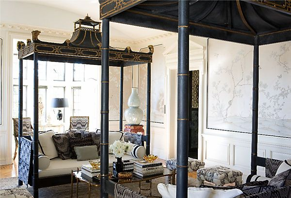 Stunning! Designer Michelle Nussbaumer knows how to work a pagoda day bed! Check out her decorating secrets and insider sources here! https://www.onekingslane.com/live-love-home/2012/06/michelle-nussbaumer/#Michelle Nussbaum, Pink Pagoda, Greystone Mansions, Interiors Design, Living Room, Michele Nussbaum, Dallas Interiors, Inspiration Interiors, Design Michele