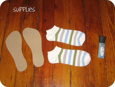 homemade by jill: quick craft: non-slip socks- I use a sheet of silicon while painting fabric doll so the fabric I'm painting doesn't slip around so why couldn't you also sew a thin sheet of silicone on the soles of sock slippers. You could maybe use kitchen shelf liners too.