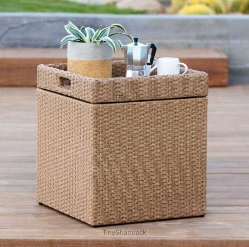 Outdoor Storage Cube Ottoman Side Table Resin Wicker Tray Top Patio Furniture Outdoorstoragecubetable